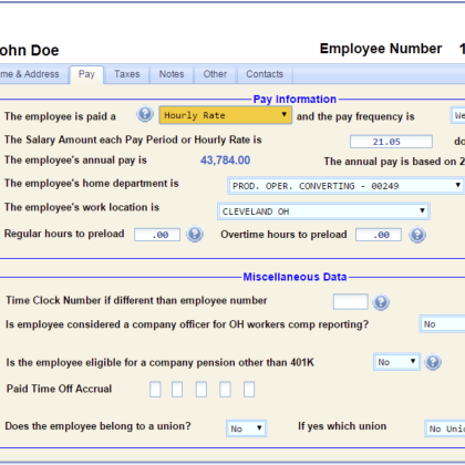 Sample Screens – Accurate Data Payroll Processing