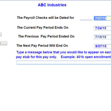 Open Payroll Screen