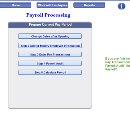 Process Payroll Menu